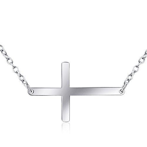 DEWANG Mode-Schmuck für Frauen Mädchen 925 Sterling Silber Kreuz Anhänger Halskette (Definition Modeschmuck)