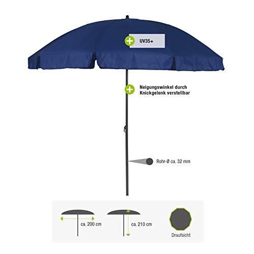 greemotion Parasol rond inclinable couleur bleue - Grand parasol de jardin - Parasol anti UV 35+ - Parasol orientable et réglable en hauteur - Parasol de table 10 baleines haute qualité