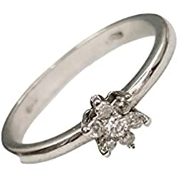 Anillo de mujer de Oro blanco 18kt (750 000/), diseño de flor de diamantes 0,10CT H-VS