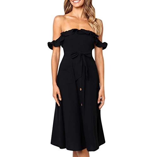 VEMOW Heißer Elegante Damen Frauen Urlaub Sommer Strand Casual Tägliche Tasche Solide Kurzarm Knöpfe Party Kleid Rock(X2-Schwarz, EU-46/CN-XL)