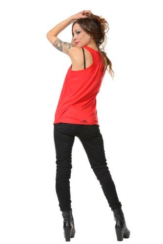 Feentaub Sommershirt Damen Top locker und luftig mit Aufdruck Feenstaub Elfe, Sommerkleidung Rot Schwarz