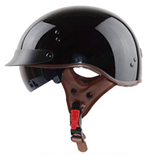 Shfmx Offene Motorrad-Helm, personalisierte Retro-Halbhelm-Kreuzfahrer-Roller DOT für Männer und Frauen zugelassen,L