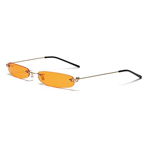 Cikuso Randlose Rechteck Sonnenbrille M?nner Frauen 90S Designer Winzige Schmale Rahmenlose T?Nung Sonnenbrille Shades Golden Rahmen Orange Stück