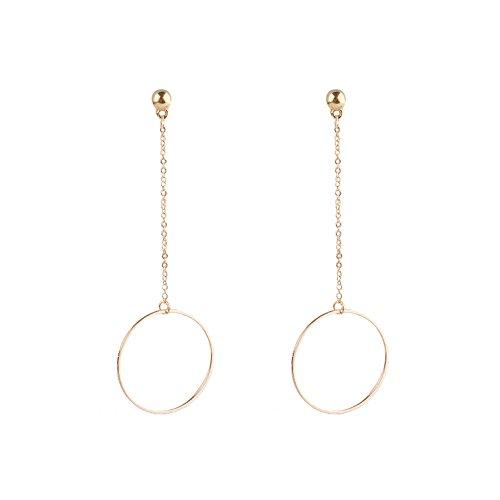 HuntGold Damen Modeschmuck Elegant Kreis Ring Langkettig Kupfer Ohrringe Gold