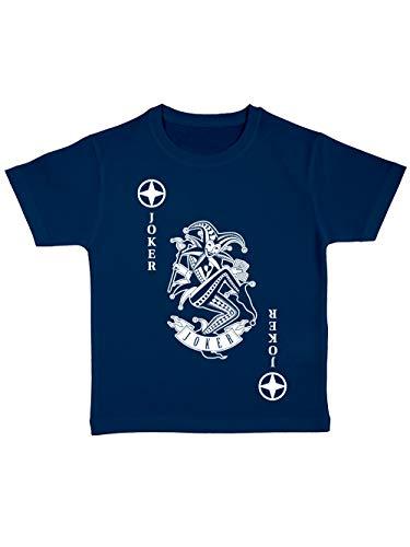 Kostüm Weiß Navy - clothinx Kinder T-Shirt Bio Karneval & Fasching Spielkarte Joker Kostüm Navy/Weiß Größe 92