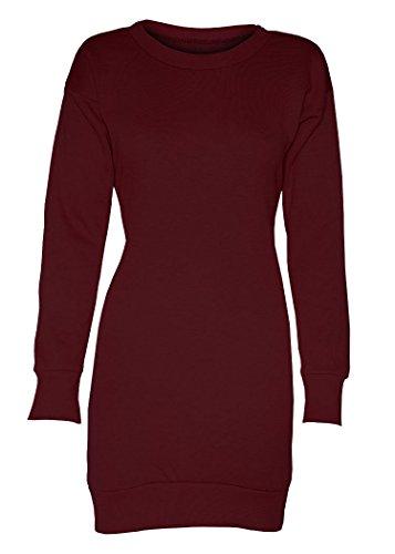 Damen Neu York Brooklyn 98 Stier 69 Überdimensional Minikleid Lang Sweatshirt Schlicht Wein