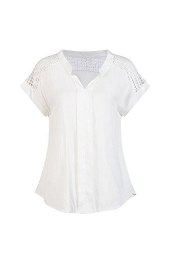 Beauty7 Beiläufig Solid Bluse mit Hollow Out Hänkel Lace V Ausschnitt Sommer T Shirt Casual Wear - Farbe: Weiß - Größe: EU 44 (T-shirt Letzte Out)