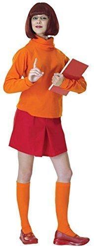 4- teiliges Sexy Damen Scooby Doo Velma-& 1960s 60er Jahre Kostüm Perücke Outfit