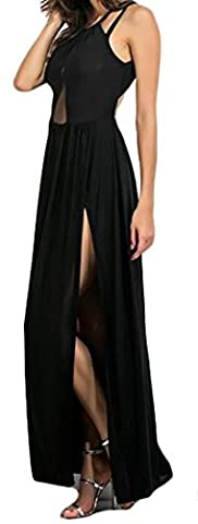 Fulok Womens Splice Backless Side Slit Solid Pleated Maxi Dress X-Small Black