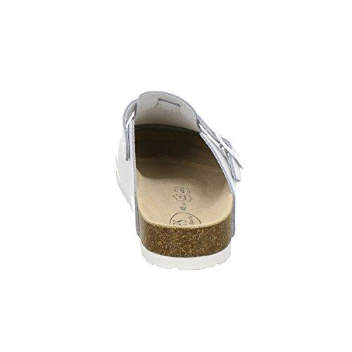 AFS-Schuhe 390010 Clogs Damen und Herren, bequeme Hausschuhe unisex, hochwertiges, echtes Leder, praktische Arbeits-Pantoffeln, modische Schlappen für zu Hause, Made in Germany Weiß