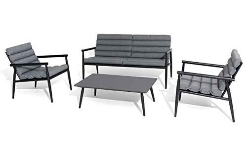 PEGANE Salon 4 pièces en Aluminium Coloris Noir/Gris foncé