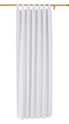 Deconovo Rideau Occultant Rideau Porte Fenetre à pattes 140x245cm Isolant Thermique Blanc Pâle Gris