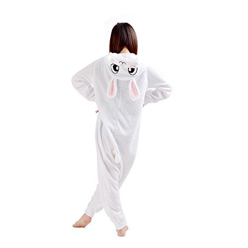YARBAR Onesies animaux Cosplay unisexe pyjama adulte Halloween Costume Jumpsuit Lapin Kigurumi Carnaval Blanc
