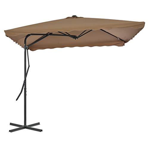 vidaXL Parasol d'Extérieur avec Poteau en Acier 250x250 cm Taupe Jardin Patio