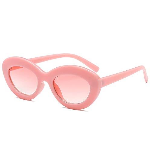 QDE Sonnenbrillen Frauen Oval Sonnenbrille Vintage Cute Pink Sunglass Elegante Dicken Rahmen Runde Sonnenbrille Uv400, Rosa Rahmen Rosa