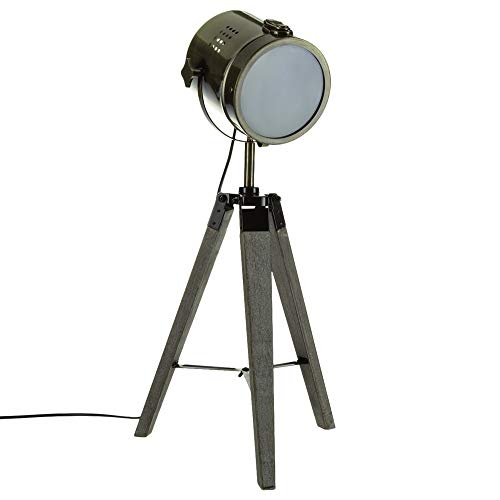 Lámpara proyector, diseño vintage y retro de metal tipo cobre y trípode...