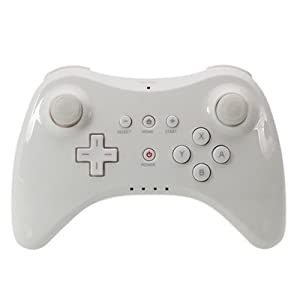 Althemax® Drahtlose Classic Pro Controller-Fernbedienung Gamepad + Kabel für Nintendo Wii U Multi Color – White