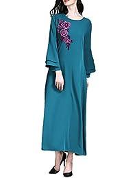 d92becf9a1f7 Zhhlaixing Eleganti Abiti Abaya Musulmani per Donne - Kaftan Lungo Floreale  Vestito Islamico Abito Manica Lunga