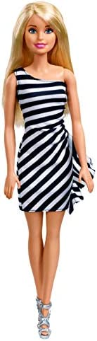 Barbie Doll, Wearing Glitzy Black and White Striped Party Dress