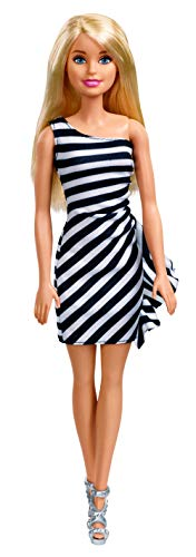 Barbie Glitz Doll (Black/White Stripe Ruffle Dress)