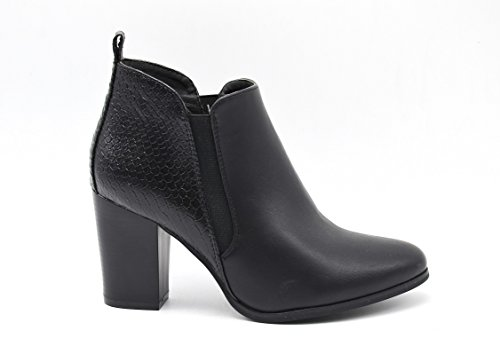 SHF22 * Bottines Low Boots à Talon avec Motif Animal à l'Arrière et Bande Elastique - Mode Femme Noir Ecailles