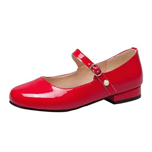 Coolulu Damen Lack Pumps Flach mit Riemchen Frühling Sommer Rockabilly Schuhe (Rot,38)