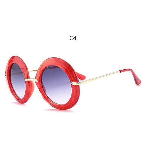 KCJKXC Gelber Rahmen Runde Vintage Sonnenbrille Übergroße Schwarze Kreis Brille Designer Frauen Grün Rot Sommer Brille