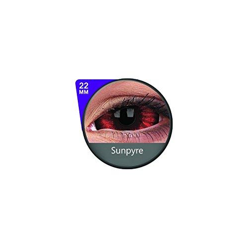 1 Paar Sclera SUNPYRE Kontaktlinsen linsen farbige rot schwarz vampir sklera mit Box dämon halloween kostüme ()