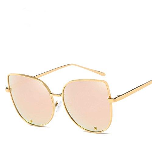 Lfives-sp Radfahren Sonnenbrillen Sonnenbrille Farbe Film Mode Katze Brille Metall Sonnenbrille Damen Sonnenbrille für Männer Frauen Laufen Radfahren Angeln Fahren G (Farbe : Messing)
