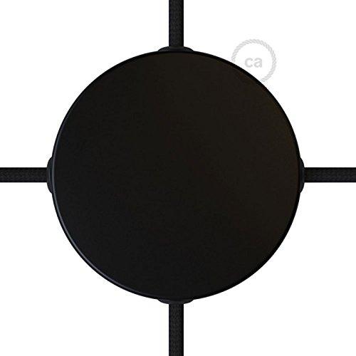 Kit Rosace en métal Noir Mat avec 4 Trous latéraux, Accessoires Inclus