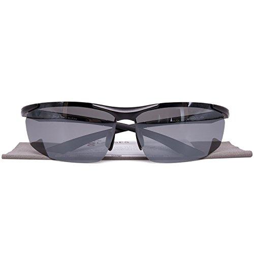 GlobaLink® Sport Sonnenbrille Radsportbrille Sportbrille Al-Mg Legierung Rahmen mit 100% UV400 Schutz für Herren - Silber