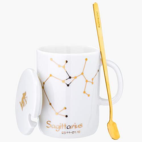 Kreative zwölf Konstellation Keramik Tasse mit Deckel Löffel Becher Persönlichkeit Wasser Tasse paar Kaffeetasse Büro Teetasse