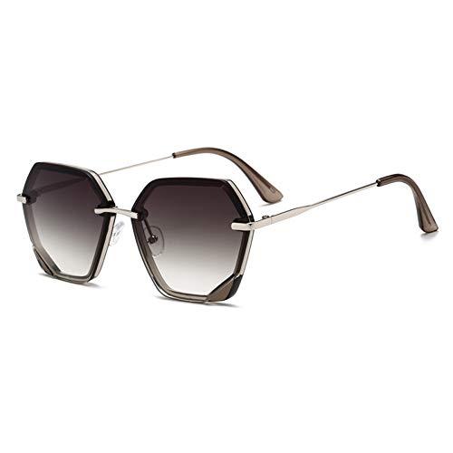 Taiyangcheng Polarisierte Sonnenbrille Vintage Unregelmäßige Sonnenbrille Frauen Markendesigner Randlose Gradienten Sonnenbrille Männer Weibliche Metallbeine Uv-Schutz,Silbergrün