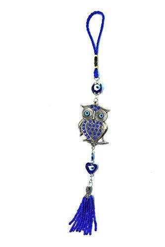 Adorno colgante para protección, color azul turquesa; diseño de mal de ojo (Nazar) con un búho