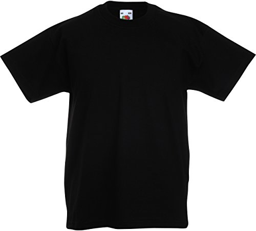 Fruit of the Loom Childrens T-Shirt - Schwarz 3/4 (Shirt Sleeve 3/4 Schwarz)