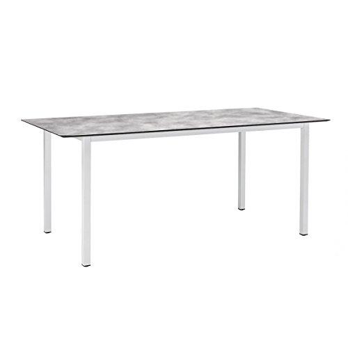 Mesa comedor 180x 90cm, Piano cemento - base bianca