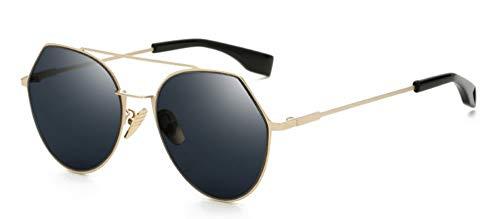 Sonnenbrille Neue Frauen Sonnenbrille Oversize Schild Sonnenbrille Uv400 Beschichtung Spiegel Retro Brille Gold-Rahmen, Grau