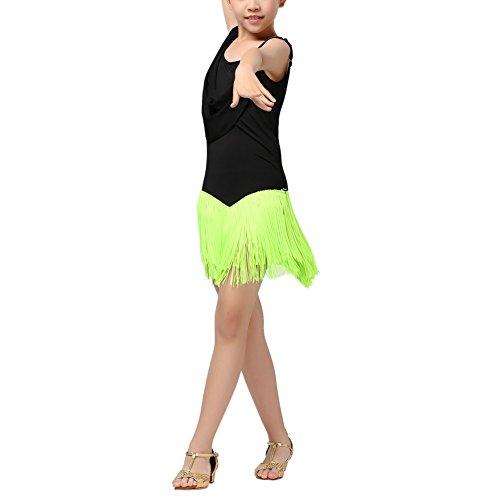 Schulen Für Kostüm Tanz - Brightup Kind Mädchen Troddel Lateinisches Tanz Kleid für Schule Show Halloween Kostüme