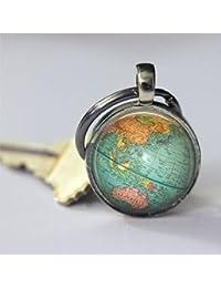 Llavero de globo con mapa del mundo para la geografía del planeta de la Tierra,