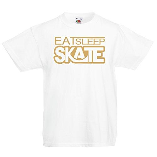 Kinder T-Shirt Eat - Sleep - Skate - für Skater, Skate Longboard, Skateboard Geschenke (5-6 Years Weiß Gold)