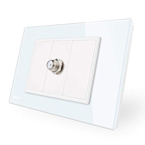 Livolo Nuovo arrivo One banda TV satellitare presa bianca pannello di vetro a parete Presa di corrente 110-250 V, C91ST-11
