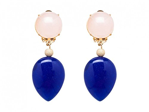 Gemshine - Damen - Ohrringe - Ohrclips - Vergoldet - Rosenquarz - Jade - Rosa - Blau - TROPFEN - 3,5 cm