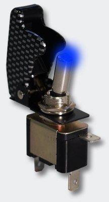 Preisvergleich Produktbild Kill Switch Kippschalter für 12 V 20 A mit blauer LED im Carbon Look