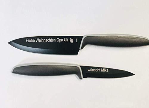 gravurlaserCOM WMF Touch Messerset 2-teilig, Küchenmesser mit Schutzhülle, Spezialklingenstahl antihaftbeschichtet, Kochmesser, schwarz mit Wunsch Gravur