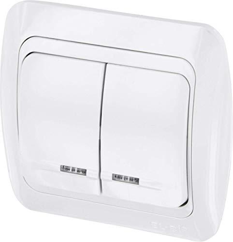 UP Serienschalter mit LED - All-in-One - Rahmen + Unterputz-Einsatz + Abdeckung (Serie T1 alpinweiß)