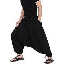 THE HAREM STUDIO Hombre Mujer Pantalones Harem Unisex Ligeros, Hippies, algodón, Casual, Boho, Hechos a Mano para Yoga - 2 Bolsillos Profundos (Negro)