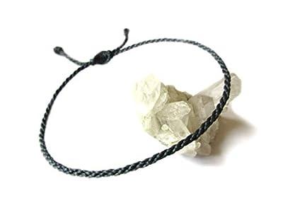 Bracelet Gris foncé Anthracite Corde Simple | Fin Cordon Souple de 2 mm | Tressé Avec Du Fil Ciré | Ajustable et Résistant à l' Eau | #6