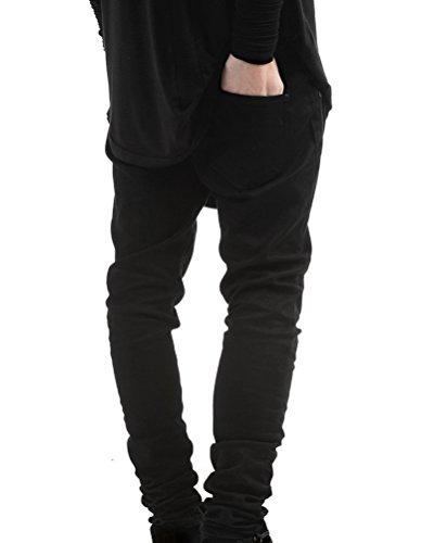 Herren Superenge Jeans mit Rissen am Knie in verwaschenem Jeanshose Denim Jeans Hose Schwarz