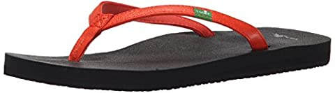 Sanuk Women's Yoga Joy Flip Flop, Flame, 6 M US