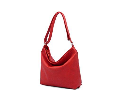 Anke Runge Taschen Berlin - Softbag - Designer Damen Ledertaschen - Crossbody und Gürteltasche mit viele Tragevarianten - Kastanie - S - 28x 28 x 9 cm Rot Red Knallrot